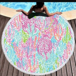 Lilly Pulitzer Fan Sea Pants Round Beach Towel